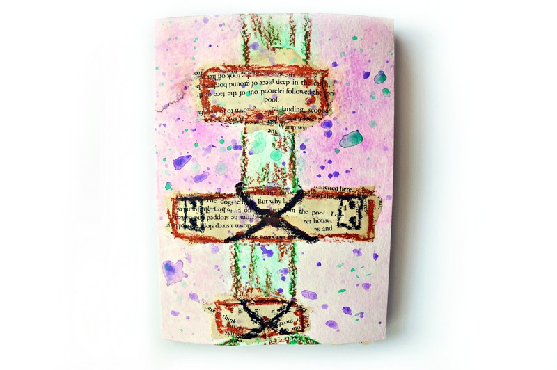 Cross of crucifixion on a tree merry christmas card diy